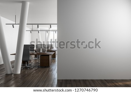 Modern office interior with empty copyspace on wall and city view. Mock up, 3D Rendering  #1270746790
