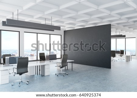 Shutterstock Modern office interior with empty dark banner and city view. Mock up, 3D Rendering