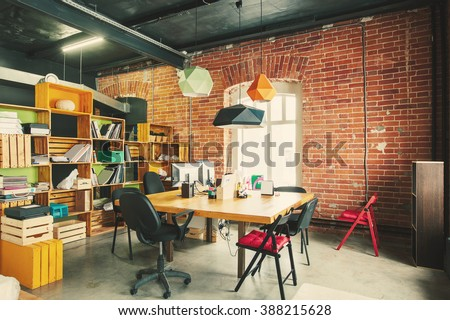 Modern office Interior with old vintage brick Wall. Art work business space #388215628