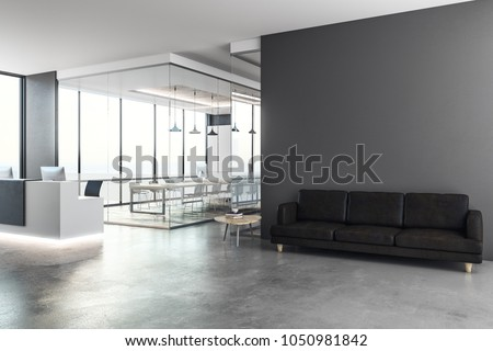 Modern office interior with reception desk and copy space on wall. Mock up, 3D Rendering