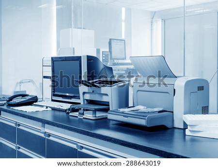 Modern Office, PC, printers and copiers and other equipment.