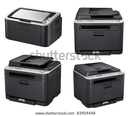 Modern office printers isolated on the white
