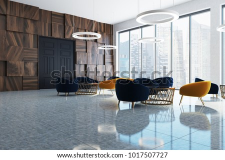 Modern office waiting room corner with large windows, dark wood and white walls, black and yellow armchairs and round coffee tables. 3d rendering mock up Zdjęcia stock ©