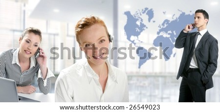 Modern office with beautiful women and handsome businessman [Photo Illustration]
