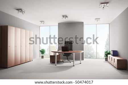 Modern office with wooden furniture interior 3d