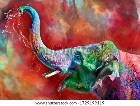 modern oil painting of elephant happy, artist collection of animal painting for decoration and interior, canvas art, abstract elephant on colorful background,Celebrate the colors Сток-фото ©