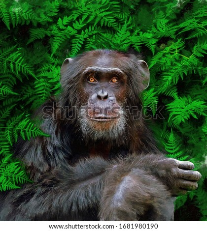 modern oil painting of gorilla  on seamless green leaves background. artist collection of animal painting for decoration and interior, canvas art, monkey