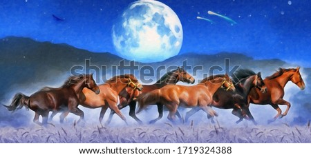 modern oil painting of horses with Wheat and the moon in the skybackground, artist collection of animal painting for decoration and interior, canvas art, abstract,Digital painting with blue background