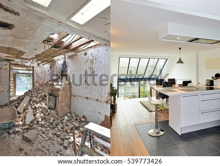 Modern open kitchen in renovated house with view on a lush garden, before and after Stock fotó ©
