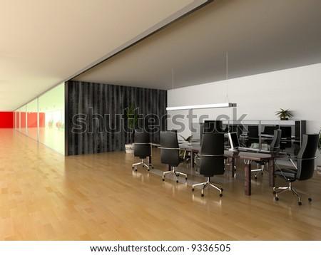 modern open office interior(3D rendering)