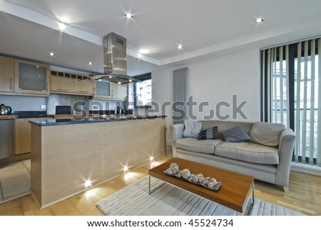 Modern Open Plan Kitchen With Breakfast Bar Stock Photo 45524734 ...