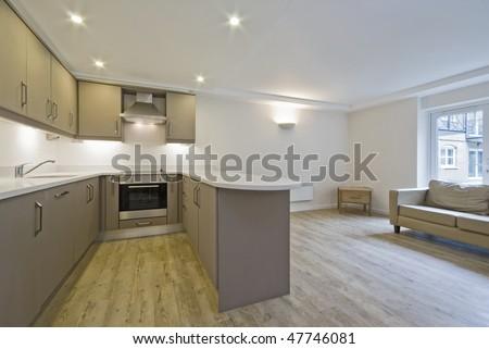 Modern Open Plan Kitchen With Hard Wood Floor Stock Photo 47746081 ...