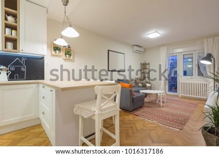 Modern open plan living room, apartment #1016317186