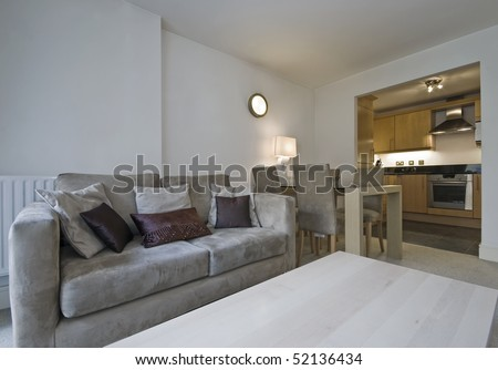 Dining Room on Modern Open Plan Living Room With Kitchen And Dining Area Stock Photo