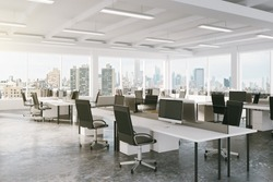 Modern open space office with city view 3D Render
