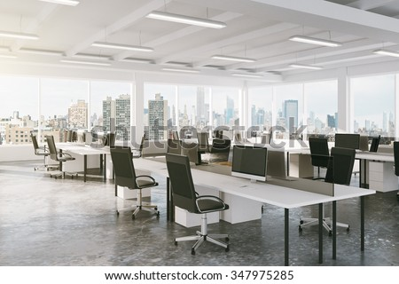 Modern open space office with city view 3d render stock for Office design 3d mac