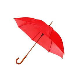 Modern opened red umbrella isolated on white
