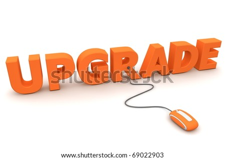 modern orange computer mouse connected to the orange word Upgrade