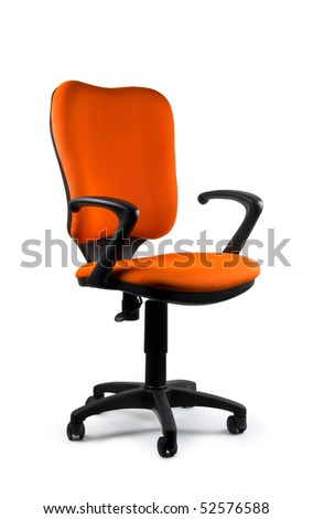Modern orange swivel chair isolated on white. Isolated path included.