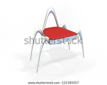 Modern organic shaped chair on a white background