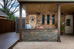 Modern outdoor kitchen that has been freshly built