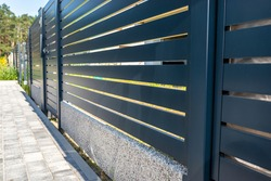 Modern panel fencing in anthracite color, visible spans and a wicket, forest in the background.