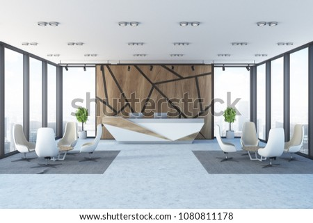 Modern panoramic office with wooden walls with a geometric pattern, a reception and two sets of armchairs and tables in a waiting area. 3d rendering mock up