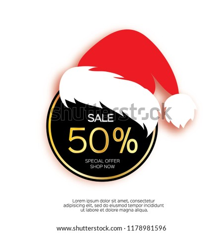 Modern paper cut circle sale banner with Santa Claus hat, special offer, 50 percents discount. Merry Christmas. Happy New Year. Origami Label template. Shop now. Space for text. Vector illustration