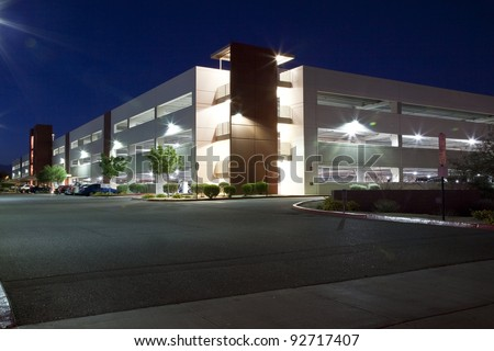 Modern Parking Garage at Night