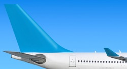 Modern passenger jet aircraft side tail silhouette with airplane parts wing winglet passenger window exit stabilizer fin antenna engine exhaust design air travel isolated on sky light blue scheme