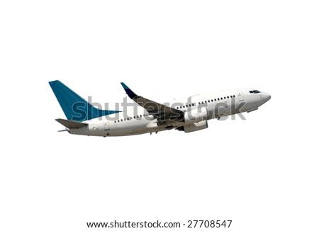 Modern passenger jet airplane isolated on white