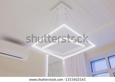Modern Pendant light lamp illuminated, Elegant Chandelier illuminated. #1315602161