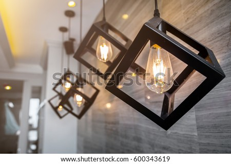 modern pendant light with vintage light bulb #600343619