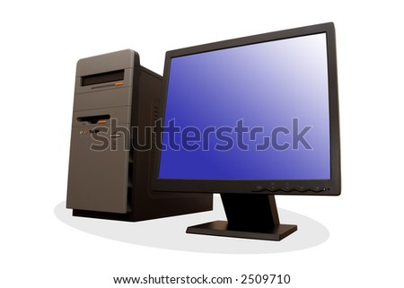 Modern personal computer system isolated on white background