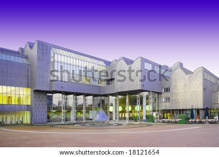 Modern philharmonic concert hall building in Cologne, Germany at dawn