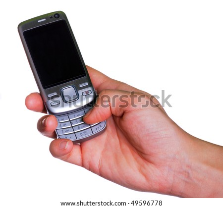 Modern phone in a hand isolated