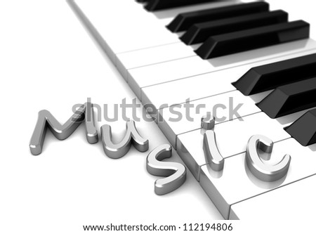 Modern piano with text music over keys