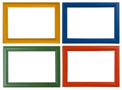 Modern picture frames isolated on white background