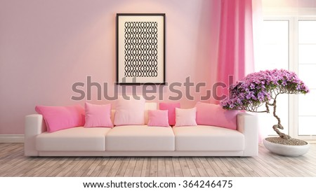 modern pink interior design with pink seat and bonsai tree 3d rendering by sedat seven