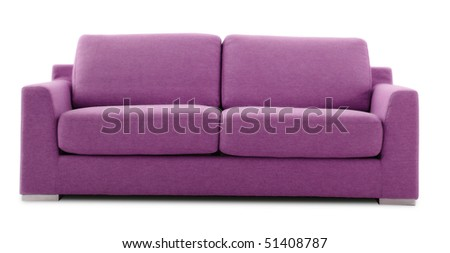 modern pink sofa - stock photo