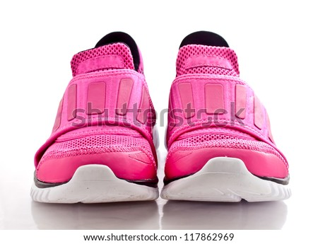 modern pinky sport shoes on white background