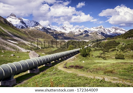 modern pipeline at a valley