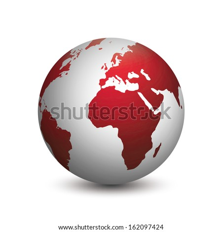 Modern planet earth colored in red and gray isolated on white background
