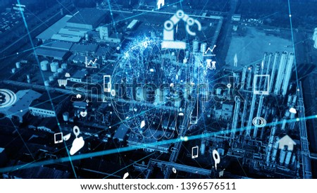 Modern plant and communication network concept. IoT (Internet of Things). INDUSTRY 4.0 #1396576511