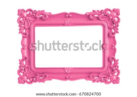 Modern plastic bright pink picture frame with antique styling isolated on white background.