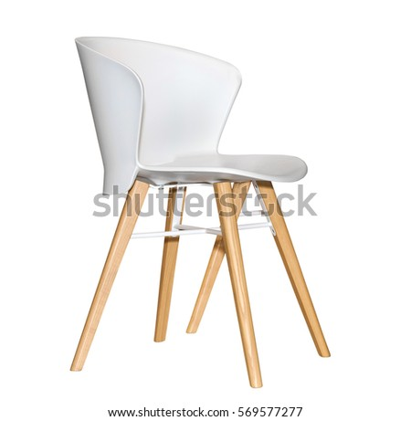 Modern plastic kitchen chair isolated on white background #569577277