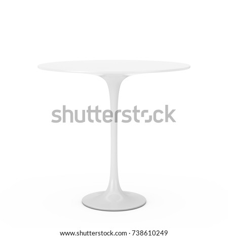 Modern Plastic White Round Table on a white background. 3d Rendering