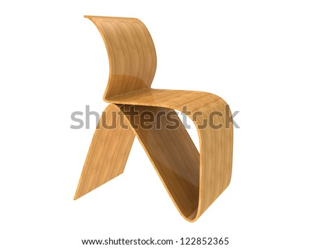Modern Plywood Chair isolated on a white background