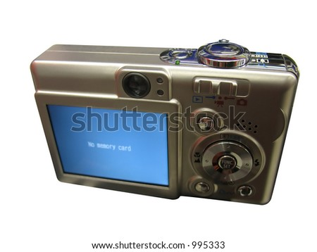 Modern point and shoot digital camera. Two clipping paths included - one for the border and the other for the LCD screen - easily insert your own image on the LCD.