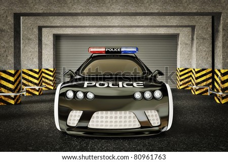 modern police car with a red and blue siren